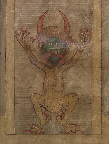 A devil with a long tounge and the arms stretched out.