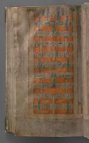 A book page with a painted city with walls in orange and green.,